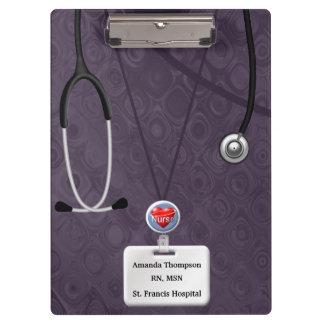 Nurse Scrubs In Purple Pattern Clipboard