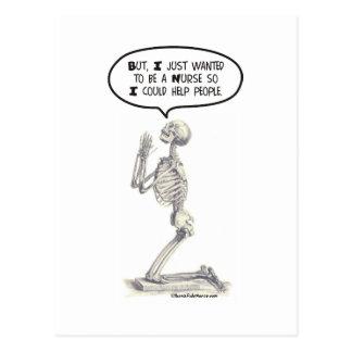 Nurse Skeleton Prayer Postcards