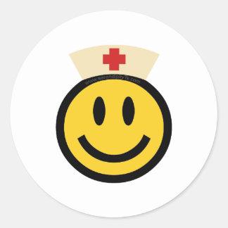 Nurse Smiley Classic Round Sticker