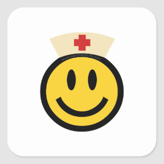 Nurse Smiley Square Sticker