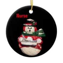 NURSE SNOWMAN  COLLECTOR CHRISTMAS OPRNAMENT CERAMIC ORNAMENT