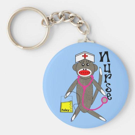 Nurse Sock Monkey Gifts Keychain