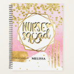 Nurse squad DIY name gold pink abstract shapes Planner
