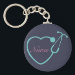 """Nurse Stethoscope Key Chain<br><div class=""""desc"""">Have this custom monogrammed key chain to show your love for your profession</div>"""