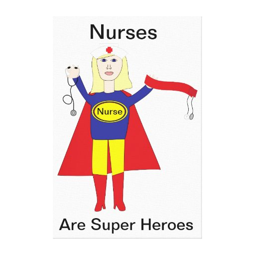 Nurse Super Hero (Blonde) Stretched Canvas Print