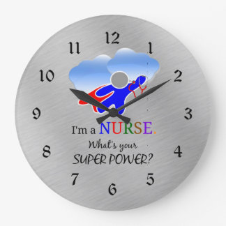 Nurse Superhero Humor Large Clock