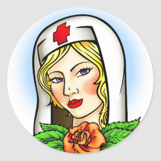 Nurse Tattoo Classic Round Sticker