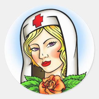 Nurse Tattoo Round Stickers