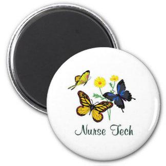 Nurse Tech Butterflies 2 Inch Round Magnet