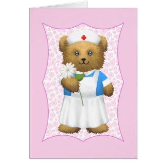Nurse Teddy Bear - Blank Card