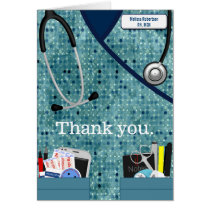 Nurse Thank You Card in Patterned Blue