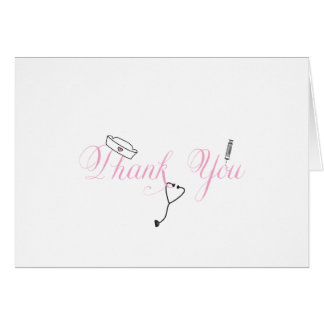 Nurse Thank You Note Pink Hand Calligraphy RN Card