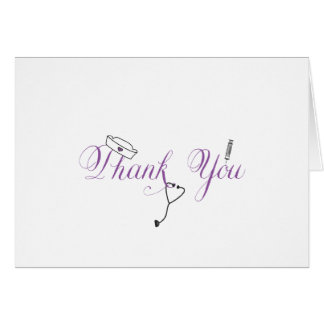 Nurse Thank You Note Purple Hand Calligraphy RN Card