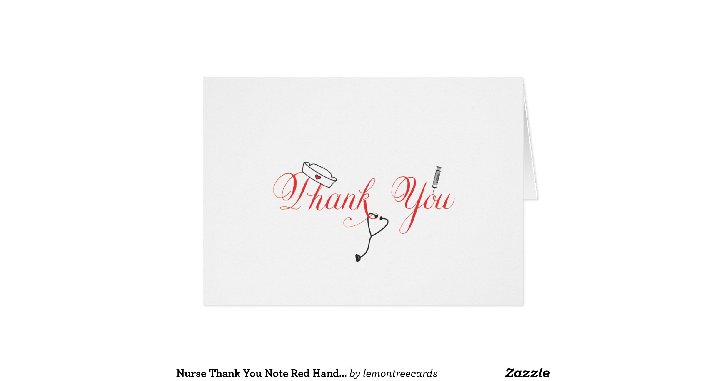 Nurse Thank You Note Red Hand Calligraphy RN Stationery