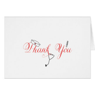 Nurse Thank You Note Red Hand Calligraphy RN Stationery Note Card