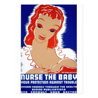Nurse the baby Breast Feeding WPA Poster Post Cards