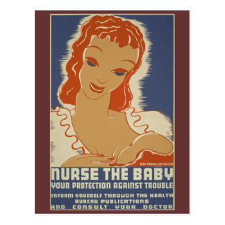 Nurse the Baby WPA Poster Postcard
