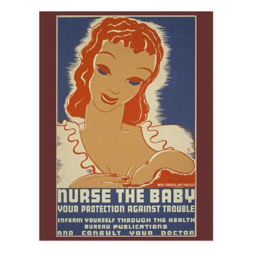 Nurse the Baby WPA Poster Postcards