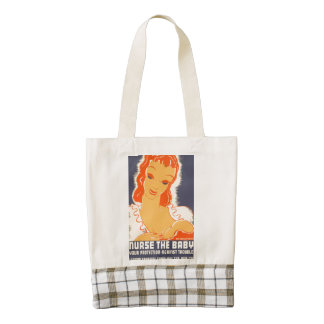 Nurse the Baby. Your protection against trouble. Zazzle HEART Tote Bag