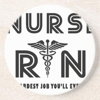 Nurse the hardest job you will ever have sandstone coaster