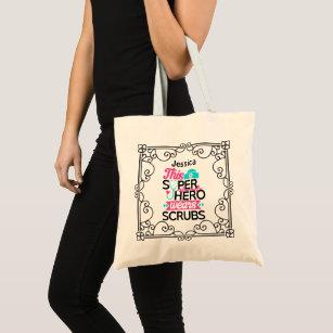 scrub tote bags zazzle Scrubs Logo nurse this superhero wears scrubs floral named tote bag