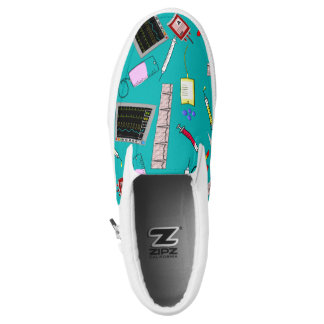 Nurse Tools Teal Blue Printed Shoes