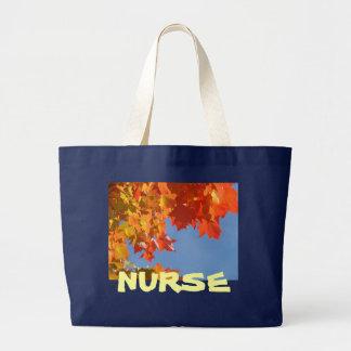 NURSE Tote Bags Autumn Leaves Blue Sky RN