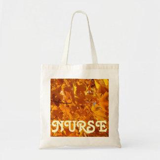 NURSE Tote Bags Golden Orange Autumn Leaves RN