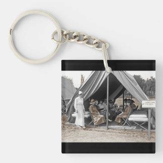 Nurse Trainees Sitting in a Tent Keychain