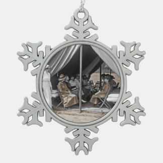 Nurse Trainees Sitting in a Tent Snowflake Pewter Christmas Ornament