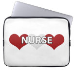 Nurse Triple Heart Laptop Computer Sleeve