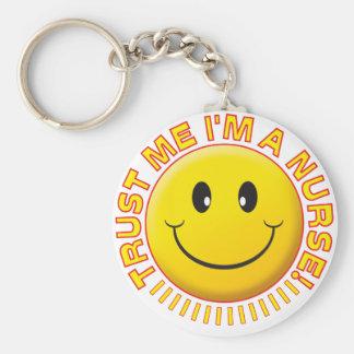 Nurse Trust Me Smiley Basic Round Button Keychain