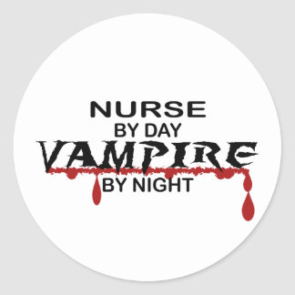 Nurse Vampire by Night Classic Round Sticker