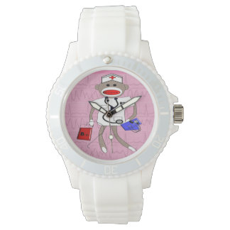 Nurse Watch Sock Monkey Design Pink