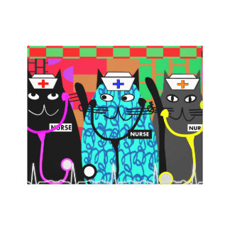 Nurse Whimsical Cats Canvas Art