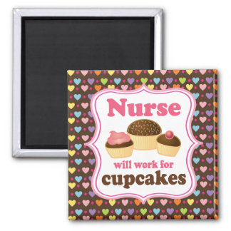 Nurse Will Work For Cupcakes 2 Inch Square Magnet