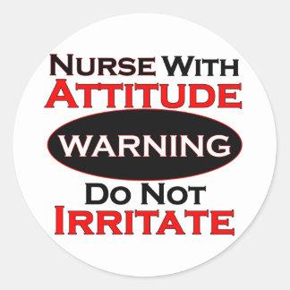 Nurse With Attitide Classic Round Sticker
