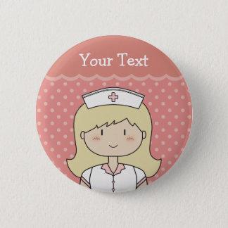 Nurse with blonde hair button