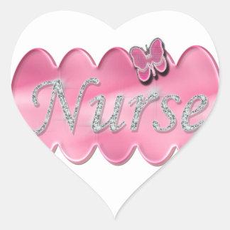 Nurse With Butterfly Heart Sticker