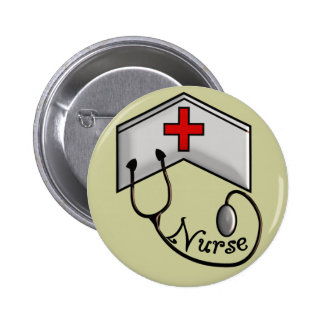 Nurse with EMBOSSED CAP & STETHOSCOPE Button