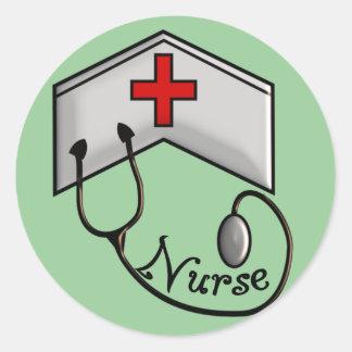 Nurse with EMBOSSED CAP & STETHOSCOPE Classic Round Sticker