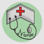 Nurse with EMBOSSED CAP & STETHOSCOPE Sticker