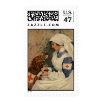 Nurse with Golden Retriever 1917 Postage