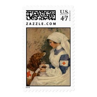Nurse with Golden Retriever 1917 Postage Stamp
