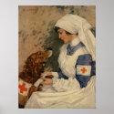 Nurse with Golden Retriever 1917 Posters