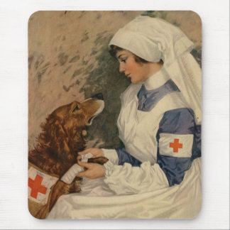 Nurse with Golden Retriever 1917 Vintage WW1 Mouse Pad