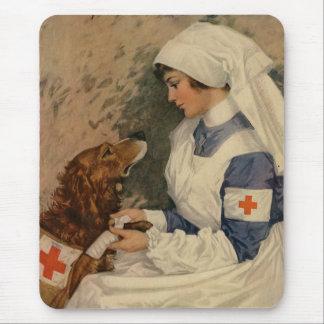 Nurse with Golden Retriever 1917 Vintage WW1 Mouse Pad