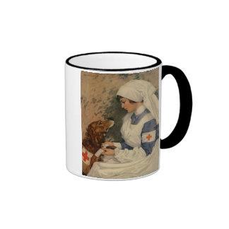 Nurse with Golden Retriever 1917 Vintage WW1 Ringer Mug