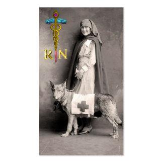 NURSE WITH RESCUE DOG / Gold Caduceus NR Emblem Business Card