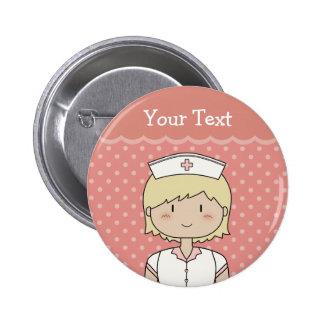 Nurse with short blonde hair button